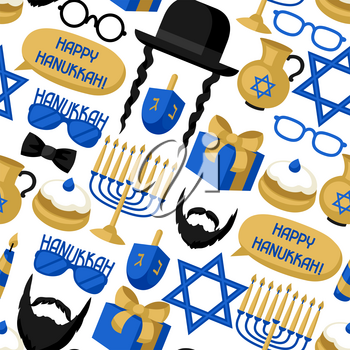 Happy Hanukkah seamless pattern with photo booth stickers. Accessories for festival and party.
