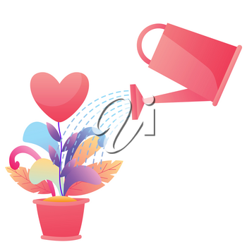 Happy Valentine Day greeting card. Background with with watering can and flowers.