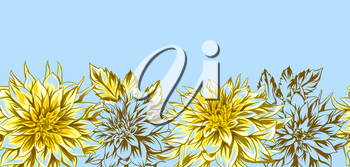 Background with fluffy yellow dahlias. Beautiful decorative flowers, leaves and buds.