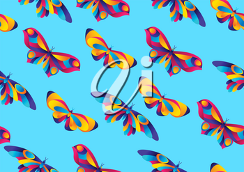 Seamless pattern with butterflies. Colorful bright abstract insects.