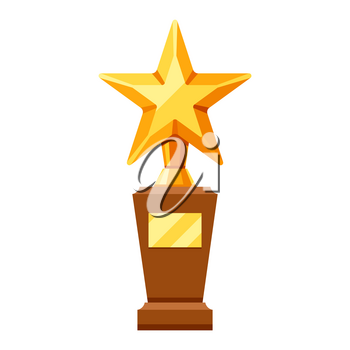 Gold prize icon with star. Illustration of award for sports or corporate competitions.