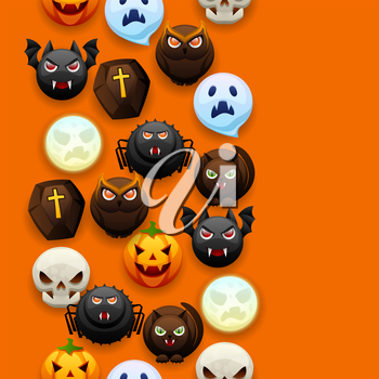 Happy Halloween seamless pattern. Celebration party background with angry stylized characters.
