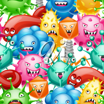 Seamless pattern with little angry viruses.