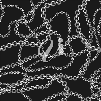 Seamless pattern with golden chains. Beautiful jewelry precious necklaces.