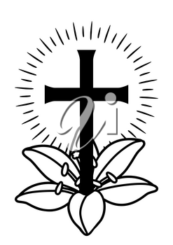Happy Easter concept illustration. Cross and lilies. Greeting card. with religious symbol of faith.