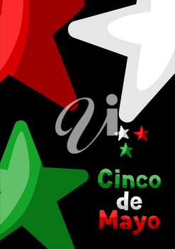 Mexican Cinco de Mayo greeting card. National holiday background.