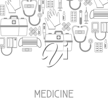 First aid kit equipment background. Medical instruments for emergency assistance.