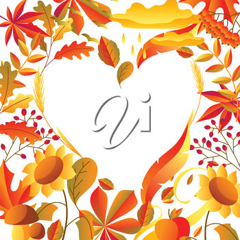 Background with stylized autumn items. Falling leaves, berries and plants.