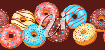 Seamless pattern with glaze donuts and sprinkles. Background of various colored sweet pastries.