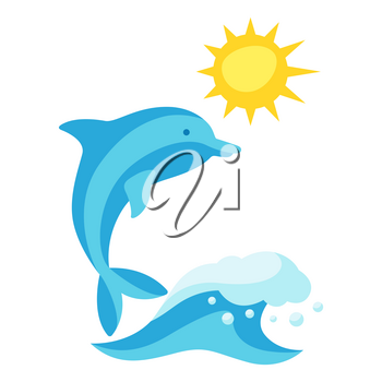 Summer illustration with wave and dolphin. Print in simple cartoon style.