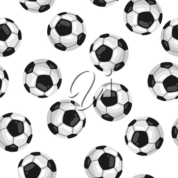 Seamless pattern with soccer balls in flat style. Stylized sport equipment background.