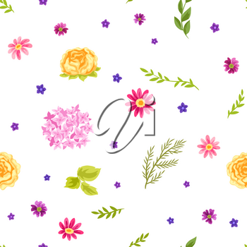 Seamless pattern with pretty flowers. Beautiful decorative natural plants, buds and leaves.