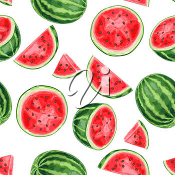 Seamless pattern with watermelons and slices. Summer fruit decorative illustration.