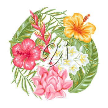 Background with tropical flowers and leaves. Decorative exotic foliage, palms and plants.