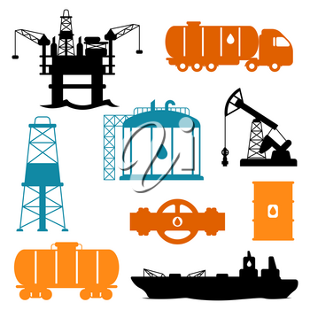Set of oil and petrol icon. Industrial and business illustration.