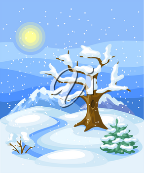 Winter landscape with trees, mountains and hills. Seasonal nature illustration.