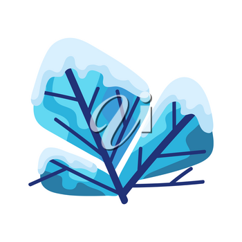 Winter abstract bush bush with snow. Natural stylized illustration.