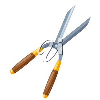 Illustration of garden secateurs. Tool for farming and gardening.