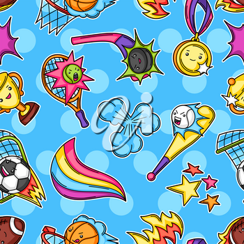 Seamless pattern with kawaii sport items. Cute funny characters. Illustration for competition and tournament.