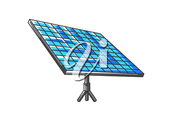 Illustration of solar panel. Ecology icon or image for environment protection.