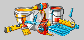 Background with repair working tools. Equipment for construction industry and business.