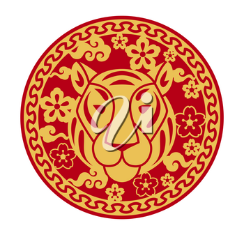 Illustration of tiger oriental symbol of 2022. Happy Chinese New Year lunar calendar animal. Asian tradition element.