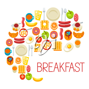 Healthy breakfast background. Various tasty food and drinks. Illustration for cafes, restaurants and hotels.