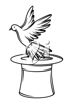 Magician cylinder from which pigeon fly out. Trick or magic illustration. Black and white stylized picture.