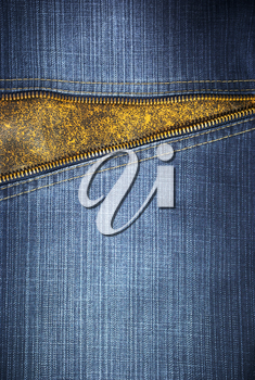 Jeans texture and zipper. Element of design.