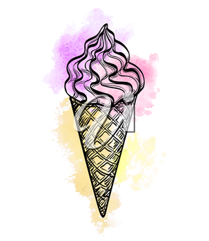 Ice cream cone isolated on white. Hand drawn vector illustration. Watercolor background.