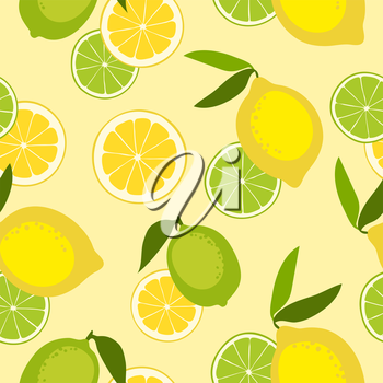 Seamless pattern with lime and lemon. Vector illustration.