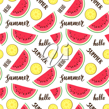 Seamless pattern with watermelon and pineapple. Summer text. Calligraphic lettering .