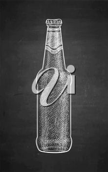 Beer bottle. Chalk sketch on blackboard background. Hand drawn vector illustration. Retro style.