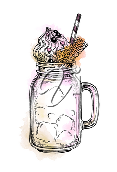 Milkshake in mason jar. Retro style ink sketch with watercolor spots isolated on white background. Hand drawn vector illustration.