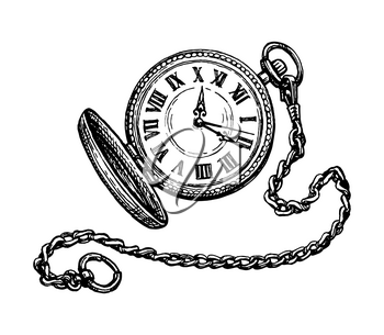 Pocket watch. Ink sketch isolated on white background. Hand drawn vector illustration. Retro style.