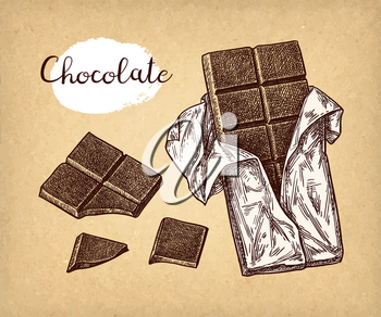 Bar of dark chocolate. Ink sketch on old paper background. Hand drawn vector illustration. Retro style.