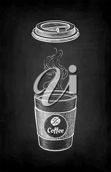 Hot drink with vapor. Paper cup and lid. Coffee to go. Small size. label with text and bean. Chalk sketch on blackboard background. Hand drawn vector illustration. Retro style.
