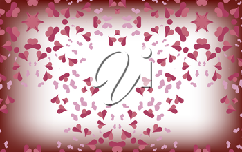 Delicate pink hearts on a blurred white background. Valentines day. Fantasy on theme of holiday. Beautiful background, Wallpaper.