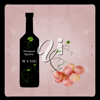 Fresh bunch of grapes purple pink on white background. Manufacturer of fresh juices and wine. Health and parties. Logo.