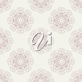 Floral vector oriental pattern with floral elements. Seamless abstract pink ornament