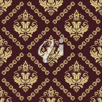 Classic seamless vector brown and golden pattern. Damask orient ornament. Classic vintage background