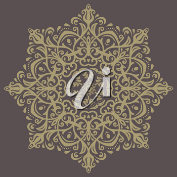 Floral vector oriental pattern with golden arabesque and floral elements. Abstract ornament for background
