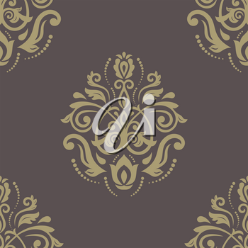 Damask seamless pattern. Vector traditional golden ornament with oriental elements for backgrounds