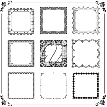 Vintage set of vector elements. Different square elements for decoration and design frames, cards, menus, backgrounds and monograms. Classic patterns. Set of vintage patterns