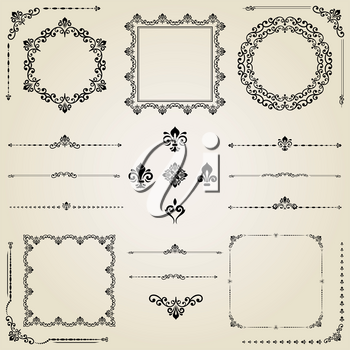 Vintage set of vector horizontal, square and round elements. Black elements for backgrounds, frames and monograms. Classic patterns. Set of vintage patterns