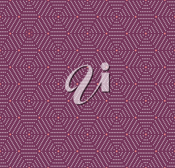 Geometric repeating vector ornament with hexagonal dotted elements. Geometric modern purple and white ornament. Seamless abstract modern pattern
