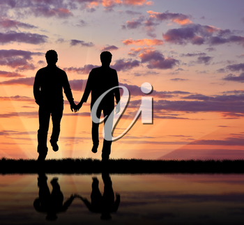 Concept of gay people. Silhouette happy gay men walking holding hands at sunset and reflection in water