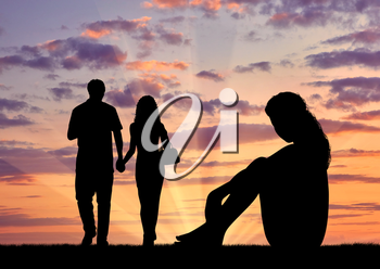 Concept of betrayal and treason. Silhouette of a lonely woman looking at loving couple at sunset