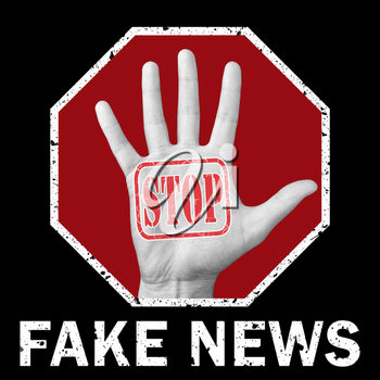 Stop fake news conceptual illustration. Open hand with the text stop fake news. Global social problem