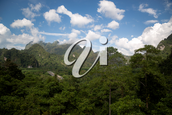 Mountain landscapein the best moment on the west of Thailand. Travel and joy